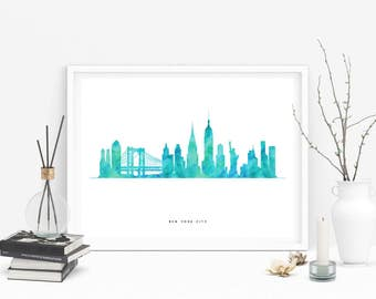 New York Print, New York Skyline, New York Gifts, New York Watercolor, Cityscape Art, Watercolor Skyline, New York Art, New York City
