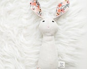 Heirloom Rattle Bunny Peach Floral Print