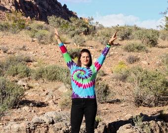 Tie dye Women's Medium Long Sleeve Top, Trippy Ladies Shirt, Hippie Fashion