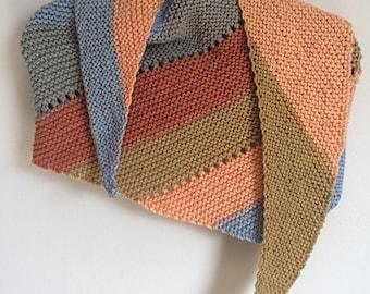 Striped Asymmetrical Shawl - Knit Shawl - Striped Knit Shawl - Eyelet Shawl - Striped Eyelet Wrap - Striped Shoulder Wrap - Striped Scarf