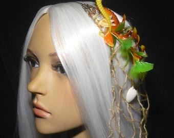 Coastal Magic - Mermaid Hairpiece with Seashells and a cute Seahorse