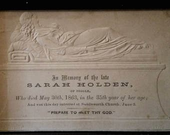 1863 Victorian Mourning Card in Original Frame