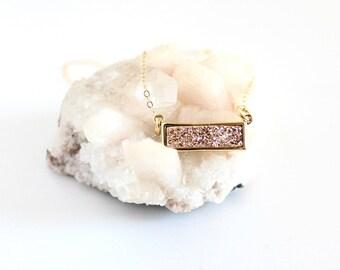Rose gold bar necklace - rose gold druzy necklace - rose gold necklace dainty - rose gold necklace wedding - rose gold bridesmaid necklace