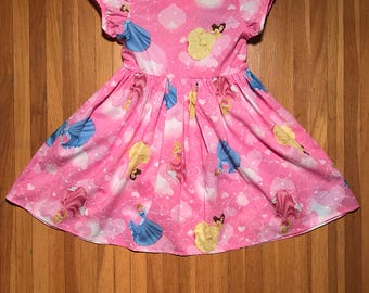 Disney Princesses // Belle, Aurora & Cinderella // Pink Girls Dress Size 2T, 4T, 5T