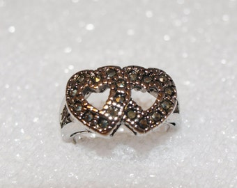 Vintage HEART Sterling Silver 925 Double HEART Ring Size 6