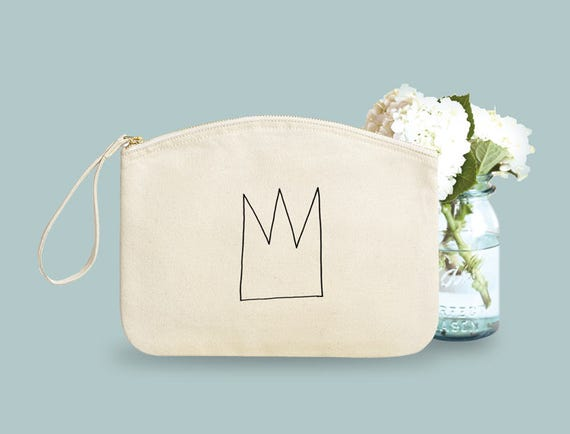 Pouch, Crown, Organic Cotton, gift sister, gift coworker, novelty gift.