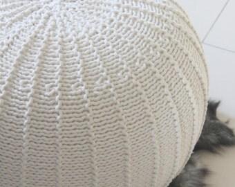Large ecru pouf | knitted pouf | knit pouf | knitted ottoman | footstool | knitted pouffe | floor ottoman | crochet pouffe