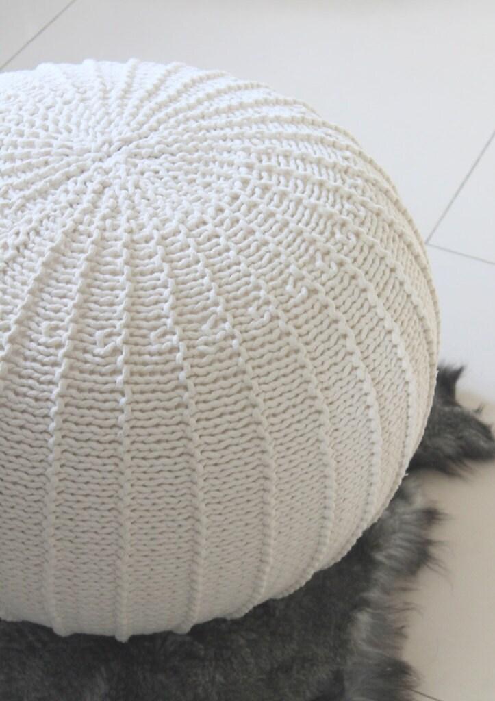 large ecru pouf knitted pouf knit pouf knitted ottoman