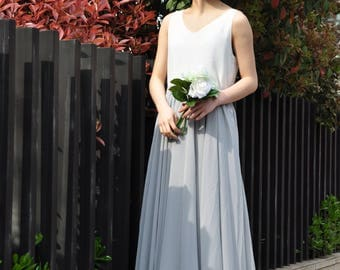 High Waist Gray Skirt / Elegant Maxi Skirt / Chiffon Wedding Skirts / Summer Event Skirt /Floor Length Long Skirt (108), #43