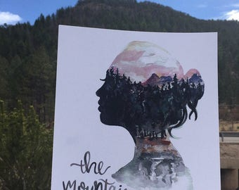 The mountains are calling/ art print/ silhouette/ nature lover