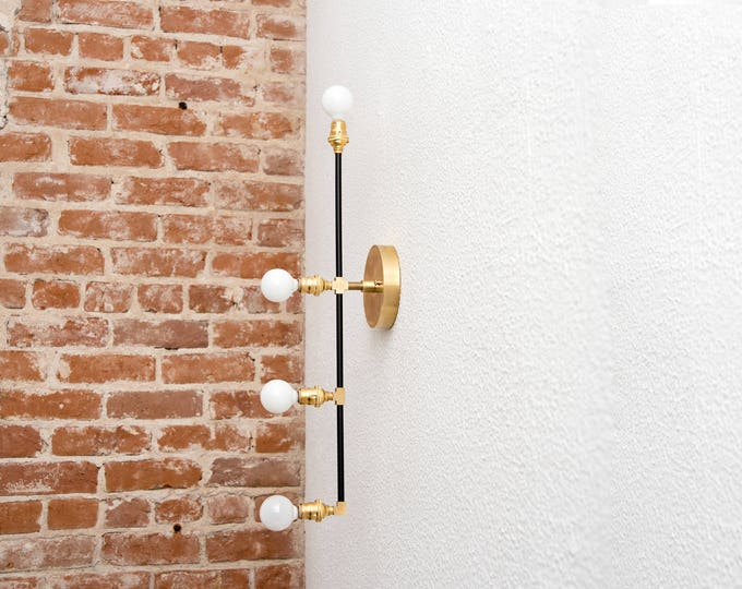 Vertical 4 Light Wall Sconce Black and Brass Gold 4 Bulb Offset Modern Mid Century Industrial Light Bathroom Vanity UL Listed
