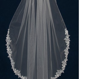 Venise Lace Edge Fingertip Length Wedding Veil