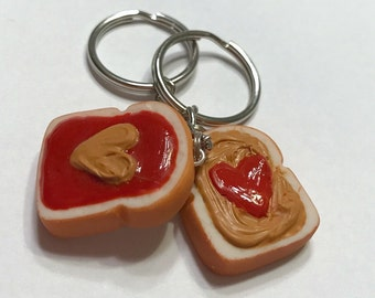 Peanut Butter and Jelly with Hearts Key Chains, Polymer Clay Food Accessories, BFF, Best Friends