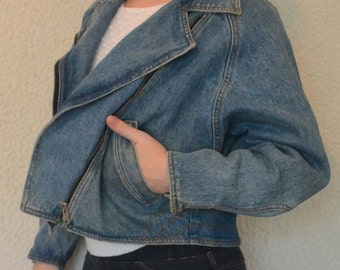 Vintage Denim Moto Jacket w/ Zipper / Medium