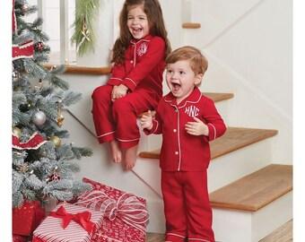 Mudpie Red Christmas Pjs - Pajamas with Monogram