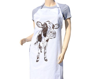 Kitchen Apron - Baking Apron - Cute Apron - Large Apron - Brown Cow Apron - Kitchen Gifts - Gifts for Mom - Cooking Gift Ideas