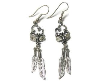 Vintage Black Hills Sterling Heart Feather Earrings
