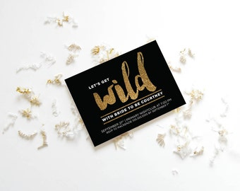 Black and Gold Bachelorette Invite