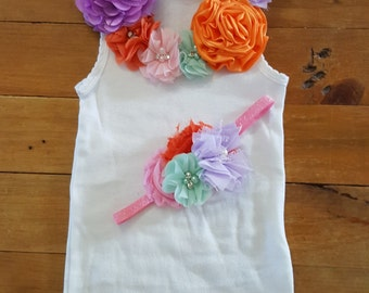 Baby onesie set with matching headband -  Pastel Rainbow  Baby girl short sleeve onesie- Embellished onesie & headband set