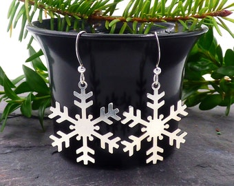 Sterling Silver Snowflake Earrings, Silver Snowflake Dangle Earrings, Large Snowflake Jewelry, Winter Earrings