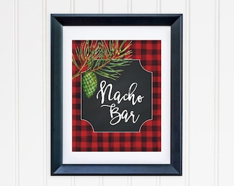 Nacho Bar Party Table Sign Printable Nacho Table Sign Buffalo Plaid Table Sign Party Sign Buffet Table Sign Red Black Lumberjack Plaid 112