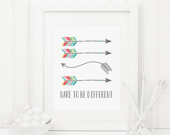 Dare To Be Different Printable Tribal Arrow Print Tribal Nursery Decor Tribal Wall Art Nursery Quote Print Inspirational Nursery Poster Boy