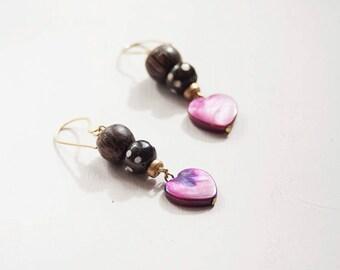Shell heart earrings, Raw brass earrings, Bright Colourful earrings, Wood shell bone, fun earrings,  Pink dangle earrings
