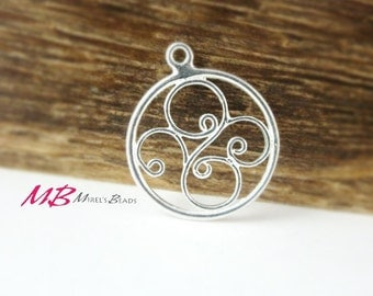 17mm Sterling Silver Charm, Round Drop Charm