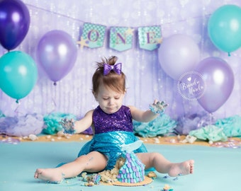 Mermaid banner for high chair age ONE or TWO, Mermaid birthday banner, Mermaid starfish and seashell banner, under the sea,