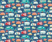 Retro Camper Quilt Fabric, Riley Blake Road Trip C5622 Blue, Travel Trailer, RV, Glamping Fabric, VW Bus, Camping Fabric, Cotton, 22""