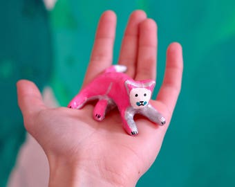 """Disco cat collection """"Pink resting cat"""" , painted clay sculpture"""
