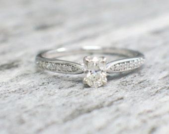 Oval Diamond Engagement Accent Ring