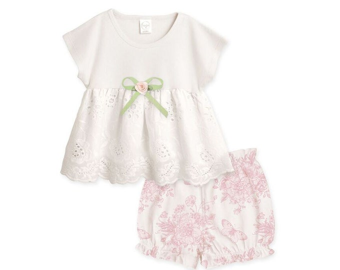Baby Girl Outfit Summer, Baby Girl Summer Top Bloomers Outfit, Baby Eyelet Outfit, Baby Girl Clothes, Baby Floral, Tesababe, TB02EIYBFGP64BG