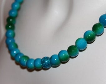 Pearl necklace Turquoise green, pearl jewelery Turquoise green, necklace with pearls Turquoise green, necklace with pearls Turquoise green