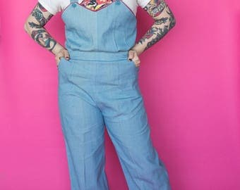 RESERVED 1940s Overalls / 40s Chambray Denim Jumpsuit
