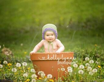 Baby Flower Hat, Baby Flower Bonnet, Newborn Bonnet, Newborn Flower Hat, Purple Baby Hat, Spring Baby Photo Prop, Flower Baby Outfit