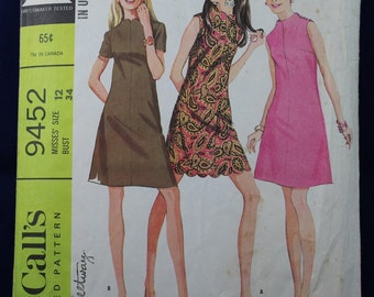 Sewing Pattern for a Woman's 1960's Dress in Size 12 - McCall's 9452
