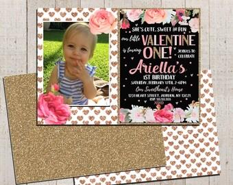 valentines day birthday invitations, valentines birthday invites, valentines day birthday party invitation & TY, valentines 1st bday INVVAL0