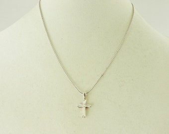 """Sterling Silver And Rhinestone Cross Pendant Necklace 18"""""""