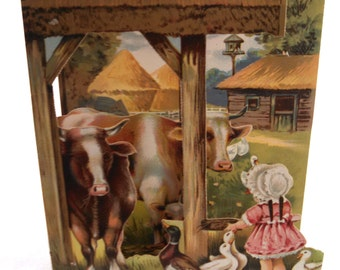 1930's fold-out Farm Scene chromolithograph; Cows, Geese, Duck & Girl