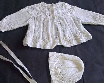 Hand knitted Vintage Newborn Matinnee Coat & Bonnet