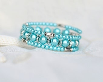 Memory wire bracelet - Birthday gift for mother - Handmade Gifts for her under 20 - Turquoise pearl beaded wrap bracelet - Slinky bracelet