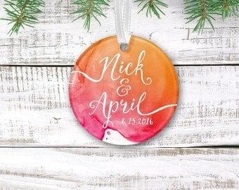 LAUREN . Holiday Custom Ornament Newlyweds first Christmas Wedding Keepsake Gift . Calligraphy & Watercolor . 3 inch Circle Clear Acrylic