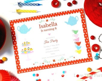 TEA PARTY INVITATION, Printable, Personalized, High Tea Invitation, Tea Party Birthday Invitation, High Tea Baby Shower, Print Yourself