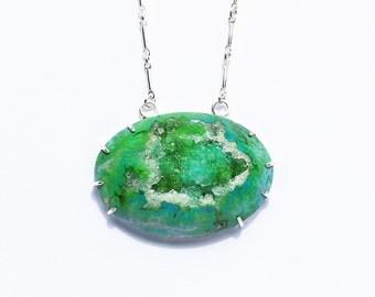 Green druzy Silver Necklace, druzy choker necklace, druzy jewelry, designer druzy, geode necklace, claw necklace, metalsmith, prong druzy