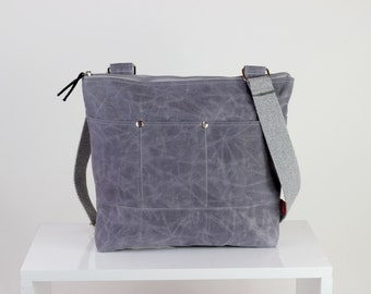 Light Gray waxed tote bag cross hang strap pocket on front full lining waterproof tote bag carry all gift idea different color available