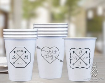 Paper Cups | Personalized Wedding Cup | Monogrammed Cups