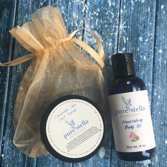 All Natural Body Oil and Sea Salt Scrub Gift Set