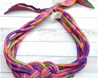 Bright pink, purple, green and yellow braided wide 80s belt  - large