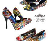 Retro Comic Book Inspired -Choose Your Style- Wedding Shoes- Geek-Bride- Bridal Shoes- Prom-Graduation- Gift- Custom Shoes- superhero